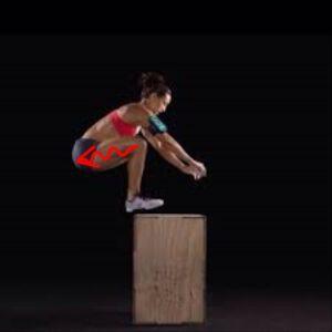 W czasie lądowania, mięśnie czworogłowe rozciągają się. Podobnie dzieje się w czasie jazdy na nartach.